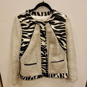 CHICO'S Striped & Animal Print Jacket - Size 0 4-6